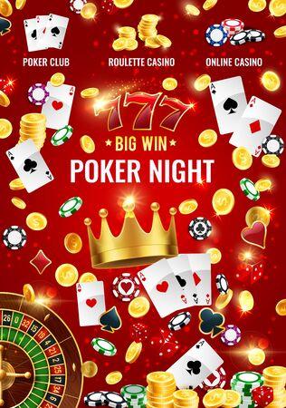 Casino Roulette, Poker und Blackjack Glücksspiele 3D-Vektordesign. Würfel, Chips und Spielkarten, Goldmünzen, französisches Rad und 777-Jackpot-Gewinner an Spielautomaten. Glücksspiele Themen
