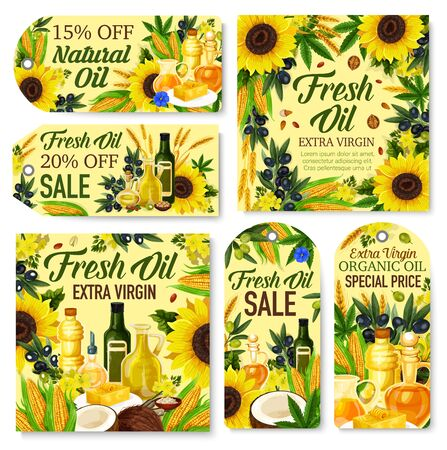 Natural oil vector tags and labels with fresh food ingredients. Olives, corn and sunflower seed, almond, peanut and soybeans, walnut, coconut and rape, flax and wheat frame with bottles and jugs Illustration