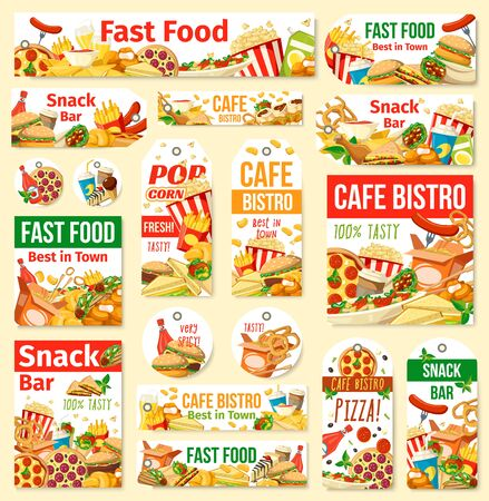 Fast food vector tags with junk meal and drink. Pizza, hamburger and hot dog, fries, soda and chicken nuggets, coffee, ice cream and popcorn. Fast food restaurant, cafe, pizzeria and snack bar design Illustration