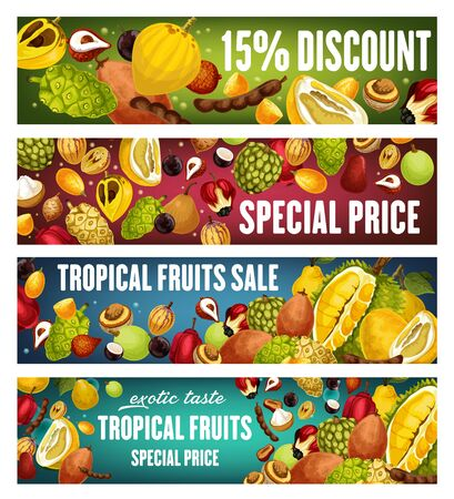 Exotic fruits and berries discount offer vector banners. Tropical pomelo, quince and asian durian, tamarind, sweetsop and kumquat, santol, jabuticaba and marula sale price promotion design