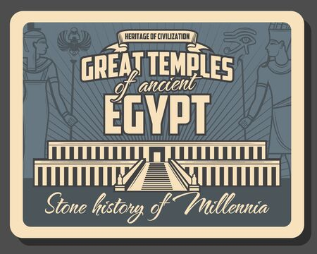 Ancient Egypt temples vector design of Egyptian travel and tourism. Pharaoh and queen Hatshepsut in royal costume, eye of Horus and scarab with colonnaded facade of mortuary temple or Djeser- Djeseru Illustration