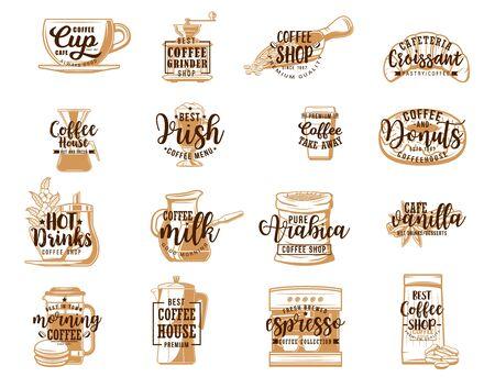 Iconos de letras de café con bocetos de bebidas calientes y postres. Vector de tazas de café, frijoles y ollas, máquina de espresso, taza y molinillo para llevar, leche, croissant, rosquilla y azúcar. Cafetería, diseño de cafetería