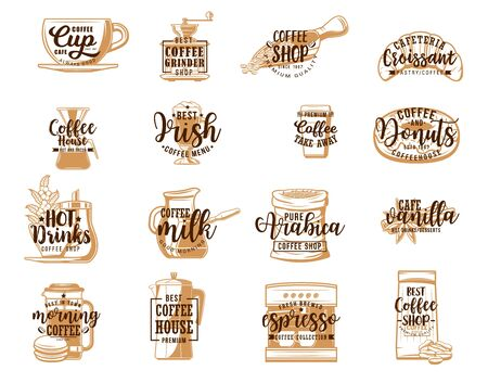 Coffee lettering icons with hot drink and dessert sketches. Vector coffee cups, beans and pots, espresso machine, takeaway mug and grinder, milk, croissant, donut and sugar. Coffee shop, cafe design