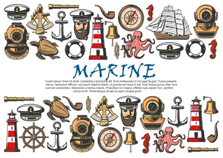 Marine ship, nautical anchor, helm and vintage compass vector banner. Sailing boat, sea captain and retro diver helmet, lighthouse, spyglass and lifebuoy ring, bell, octopus and turtle sketches