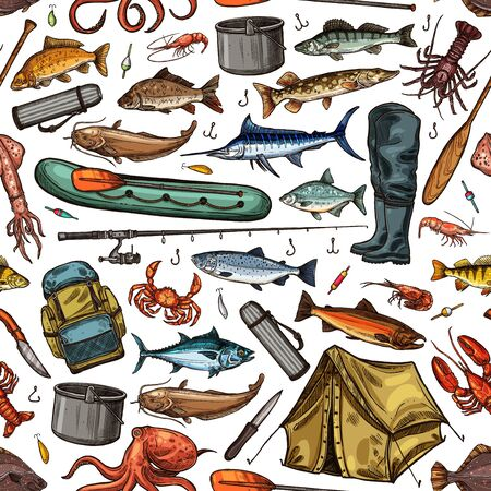 Fishing sport seamless pattern background with vector fish, fisherman tackle and tourist equipment. Fishing rod, boat and hook, blue marlin, salmon and tuna, bait lure and tent, paddle and backpack