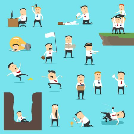 Geschäftsausfälle des erfolglosen Vektordesigns des Geschäftsmannes. Traurige und schockierte Männer werden gefeuert, geben mit weißer Flagge auf, fallen hin und verbrennen Dokument. Insolvenz, Finanzkrise, Schuldenkonzept