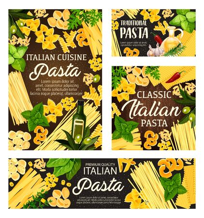 Pasta, spaghetti and macaroni with Italian herbs and spices vector frame on wooden background. Penne, fusilli and farfalle, fettuccine, conchiglie, lasagna and orzo with olives, rosemary and garlic