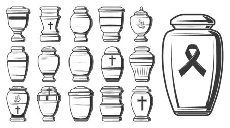 Croquis d'urnes funéraires de conteneurs de crémation et d'inhumation vectorielles, vases de columbarium, pots et pots de cendres, décorés de croix et d'oiseaux de colombe ou de pigeon. Conception de service de maison mortuaire ou funéraire