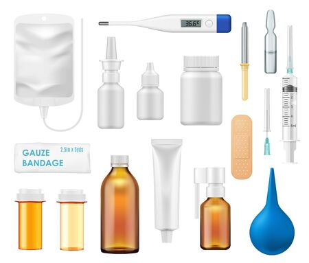 Frascos de medicina o farmacia y artículos médicos iconos vectoriales 3d. Envases de medicamentos, píldoras o vitaminas, antibióticos recetados y cápsulas, viales de vidrio y plástico, ampolla de vacuna, termómetro, jeringa