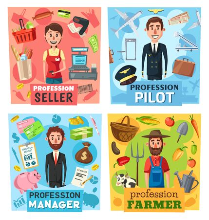 Farmer, seller, pilot and manager professions vector design with businessman or financial advisor, cashier, airman and farm worker. Retail, business, transportation, agriculture industry occupations