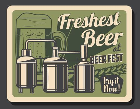 Craft beer brewery retro poster with glass of alcohol beverage and wheat vector design. Beer production factory barrels, tanks and kegs of malted barley drink with cereal ear and ale mug. Brewer pub Illusztráció