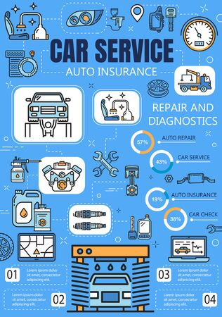 Car service and auto insurance vector infographics with vehicle repair and diagnostic charts. Engine spare parts graphs with motor oil, wheel tires and piston, spark plugs, spanner and car wash Illustration