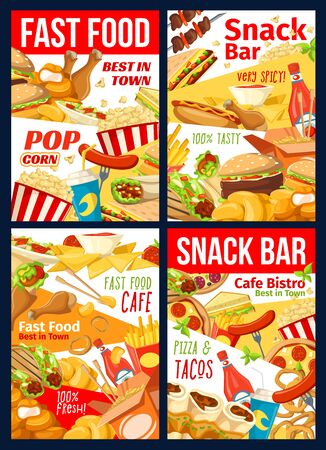 Fast food restaurant, burger cafe and snack bar menu vector design. Hamburger, hot dog and pizza, fries, chicken nuggets and bbq legs, soda, popcorn and sandwiches, Mexican tacos and Chinese noodles Illustration