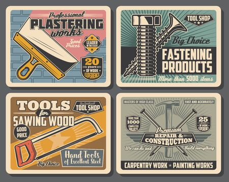 House repair and construction retro posters with vector hand tools of carpentry, painting and plastering works. Hammer, nails and spatula, saw, screw and bolt, hacksaw and brick wall. Hardware store Illusztráció