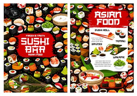 Japanese cuisine sushi rolls vector menu of sushi bar and seafood restaurant design. Fish and rice nigiri, salmon, shrimp and seaweed temaki, tuna, avocado and ikura, maki, gunkan and hosomaki