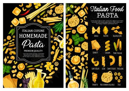 Pasta, Italian food vector menu with homemade macaroni, herbs, spices and olive oil. Spaghetti, farfalle and penne, fusilli, conchiglie and fettuccini, cannelloni, lasagna and ravioli, rosemary, basil  イラスト・ベクター素材