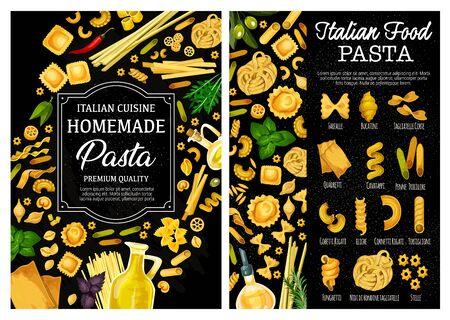 Pasta, Italian food vector menu with homemade macaroni, herbs, spices and olive oil. Spaghetti, farfalle and penne, fusilli, conchiglie and fettuccini, cannelloni, lasagna and ravioli, rosemary, basil Illustration