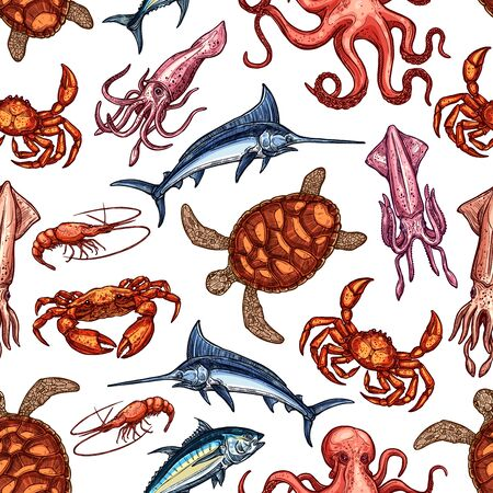 Seafood and fish seamless pattern of vector marine animals background. Octopus, crab and blue marlin, salmon, shrimp and tuna, squid, lobster, sea turtle and prawn sketches. Sea wildlife themes  イラスト・ベクター素材