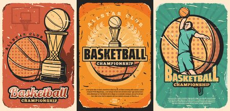 Basketball sport game championship match vector posters. Halftone orange balls, winner trophy cups and team player, arena backboard and laurel wreath. Sporting competition retro design