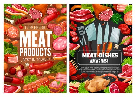 Meat food, pork and beef sausages with herbs and spices. Vector salami, ham and bacon, bbq chicken legs, turkey and frankfurter, burger patty and pepperoni frame on wooden and blackboard background