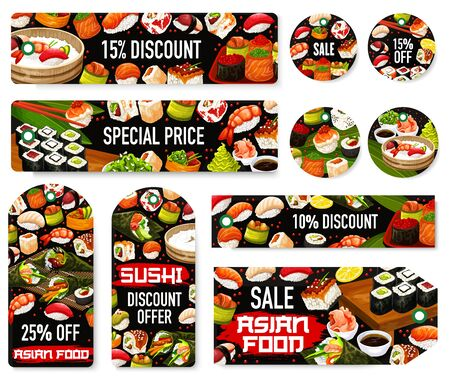 Sushi rolls sale tags of Japanese food and Asian cuisine dishes vector design. Seafood nigiri, salmon fish, rice and seaweed temaki, tuna maki, shrimp, caviar and avocado gunkan discount price offer