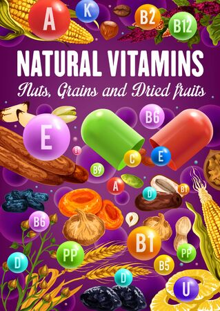 Nuts, dried fruit, cereal vitamins and minerals vector design. Date, fig and peanut, walnut, prune and pistachio, fig, apricot and hazelnut, pineapple, wheat and buckwheat, banana, corn, brazilian nut