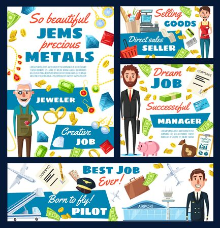 Jeweler, pilot, manager and seller professions vector design. Supermarket cashier, goldsmith, airman and financial advisor occupations, cash register, plane and jewelry, money, airport and gems Illustration
