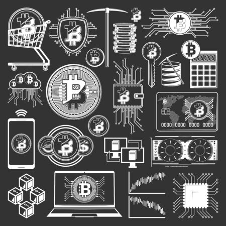 Bitcoin cryptocurrency icons of digital money and blockchain financial technology vector design. Crypto currency coin mining, digital wallet and exchange payment calculator, virtual bank card, pickaxe