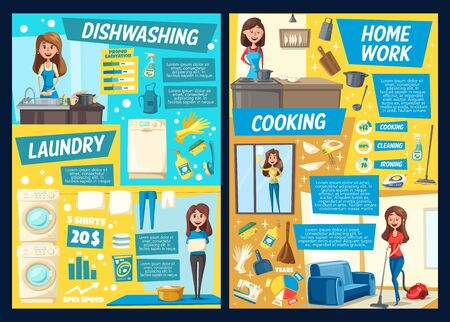 Housework and house cleaning service vector posters of laundry, cooking and washing dishes, windows cleaning and vacuuming. Cartoon women with vacuum, broom and mop, washing machine, sponge, brush Standard-Bild - 126760424