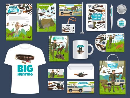 Hunting sport club corporate identity template with vector hunters, equipment and gun, animals, birds and huntsman rifle. Branded layouts of letterhead, office stationery, folder and business card