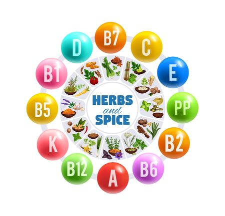 Vitamins and minerals in fresh herbs and spices vector round chart. Green basil, parsley and ginger, vanilla, cinnamon and nutmeg, star anise, rosemary and celery graph. Natural food seasonings design Фото со стока - 126760423