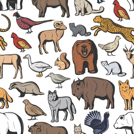 Hunting animals and birds seamless pattern background. Vector bear, wolf and african jaguar, buffalo, bull and lynx, fox, bison and goose, quail, pheasant and grouse, woodcock, badger sketch backdrop