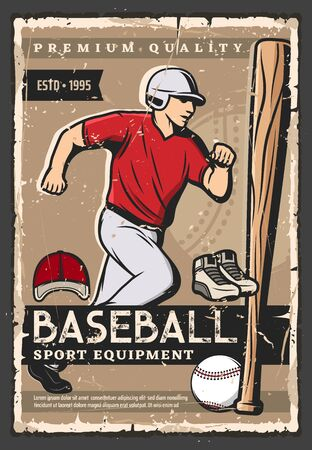 Baseball sport game equipment vector design with ball, bat and batter, catcher or pitcher player uniform, hat, helmet and shoes. Baseball sporting items shop retro poster