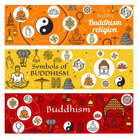 Buddhism religious symbols of oriental religion vector design. Thin line buddha statue, buddhist zen and yoga, lotus flower, dharma wheel and om mantra, Tibetan prayer wheel, endless knot and temple
