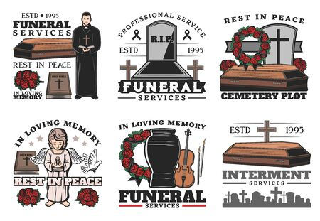 Funeral service coffin at cemetery vector icons of burial, cremation or interment ceremony design. Death memorial tombstones and crosses, urn, bible and priest, ritual flower wreath and angel statue Archivio Fotografico - 126760436