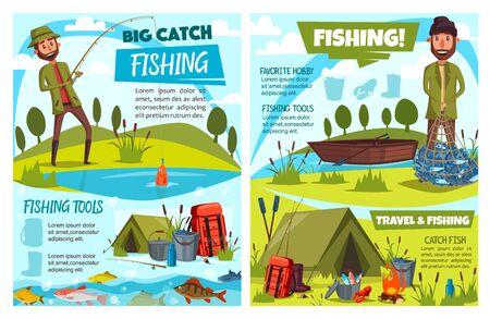 Pêche aux poissons de sport, agrès de pêcheur, engrenages et conception vectorielle d'équipements touristiques. Pêcheurs de dessins animés avec canne à pêche, bateau et filet, hameçon, leurre et moulinet, carpe, perche et morue, tente de camp, bottes, seau Vecteurs