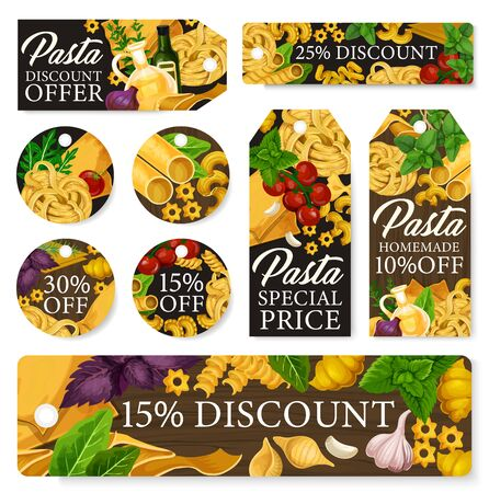 Pasta sale tags with Italian macaroni discount offers. Vector spaghetti, fusilli and penne, conchiglie, lasagna and fettuccine, cannelloni, ravioli and green herbs, tomato, spices and olive oil 스톡 콘텐츠 - 126760429