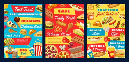 Fast food burger sandwiches, drinks and desserts menu vector design. Pizza, hamburger and chicken junk snacks, hot dog, soda and french fries, cheeseburger, coffee and ice cream, popcorn, donut, taco Illustration