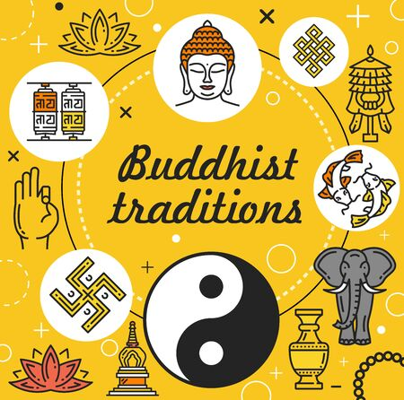 Buddhist traditions vector design of Buddhism religion. Buddha, lotus flower and yoga, zen, om mantra and yin yang, Tibetan prayer wheels, mudra and oriental temple stupa, elephant, endless knot, fish