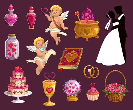 Valentine day, wedding and marriage icons. Vector isolated symbols of magic love potion with hearts, bride and bridegroom with wedding ring, cake and roses bouquet in wicker