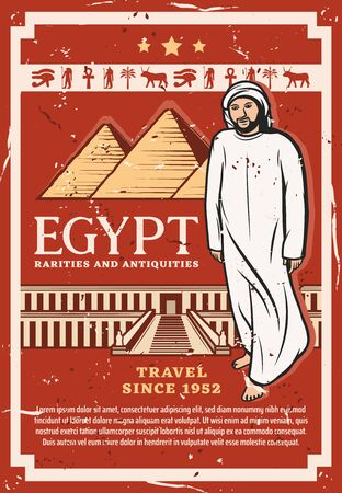 Travel to Egypt vector design of Egyptian pharaoh pyramids and ancient temple. Giza pyramids and Djeser-Djeseru temple with hieroglyphics of Horus eye, Ankh, Anubis god and bedouin in arab clothes