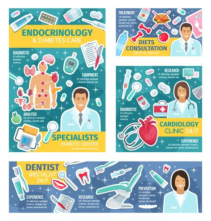 Dentistry, cardiology, endocrinology hospital and diet clinic doctors vector design with pills, syringe and stethoscope, tooth, heart and brain, thyroid gland, thymus and diagnostic tools. Healthcare