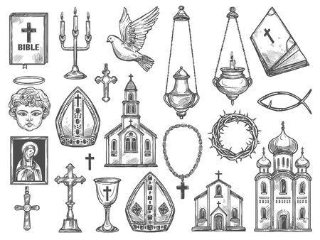 Símbolos de la religión cristiana y bocetos de suministros de la iglesia. Vector de templos católicos, biblia e icono de Dios, crucifijo y cruz de Jesucristo, monasterio ortodoxo, ángel con halo y vela, paloma, corona de espinas Ilustración de vector