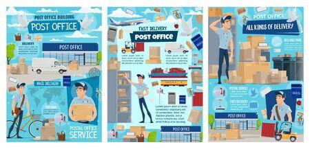 Bureau de poste et service postal de conception de vecteur de livraison de courrier. Facteur ou coursier de dessin animé, lettres, enveloppes et colis, boîtes, colis et boîte aux lettres, timbre-poste, transport postal et pigeon