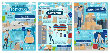 Post office and postal service of mail delivery vector design. Cartoon postman or courier, letters, envelopes and parcels, boxes, packages and mailbox, postage stamp, postal transport and pigeon