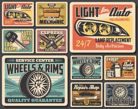 Car service and auto repair shop spare parts, vehicle wheel tire and rims retro posters. Vector motor oil, spanner and wrench, mechanic toolbox, spark plugs, car alarm remote control key and headlight