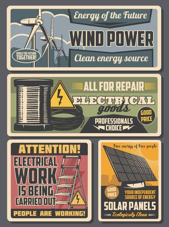 Electrical service and eco energy retro posters with vector electrician work tools and clean power equipment. Cable and wire spool, solar panel and wind turbine, ladder and high voltage warning signs
