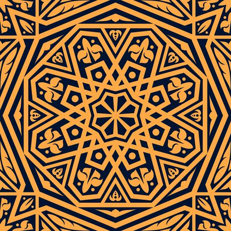 Arabic seamless pattern of arabesque floral ornament. Vector geometric motif of islamic flowers and leaves, oriental square tile, damask textile or persian carpet. Arabian ethnic decoration design Illustration