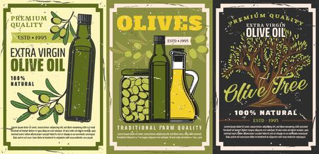 Olive oil and natural food products retro posters with vector bottles of extra virgin oil, jars of pickled green fruits and olive tree branches. Vegetable cooking oil, vegetarian salad dressing design Ilustração