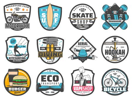 Leisure activity vector badges of sport, travel and adventure, entertainment and hobby. Motorcycle, bicycle or gyro board clubs, surfing, skating, snowboarding and diving, fast food, hookah, vape shop Illustration